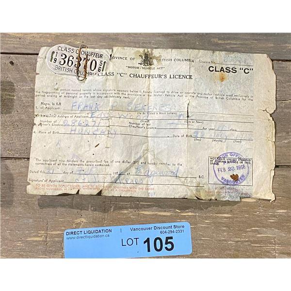 Vintage BC chauffeur license