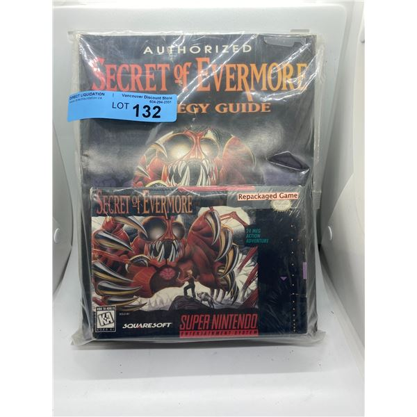 Super Nintendo secret of evermore repackaged game and strategy guide