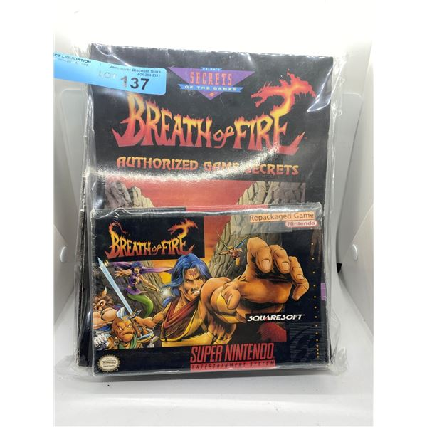 Super Nintendo breath of fire three packaged game and secrets of the games booklet