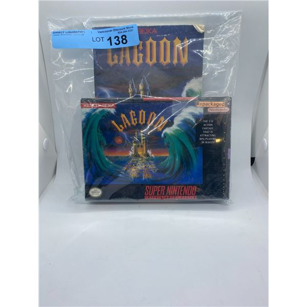 Super Nintendo lagoon repackaged game and strategy guide