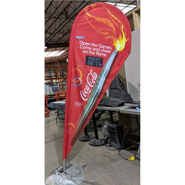 """Vancouver Olympics Coca-Cola sign Banner approx 8ft tall x 33"""" wide"""