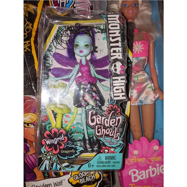 approximately 15 pieces of assorted toys including Monster high Barbie Lego Barbie Peppa pig and Fis