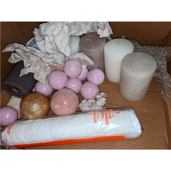 Box of assorted candles bath bombs and cups