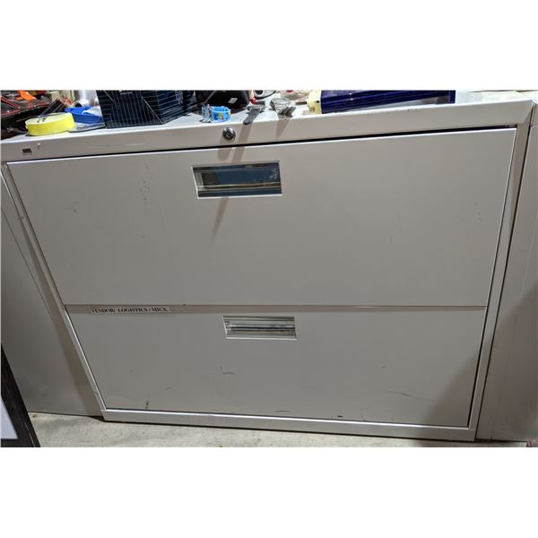 Two metal storage cabinets