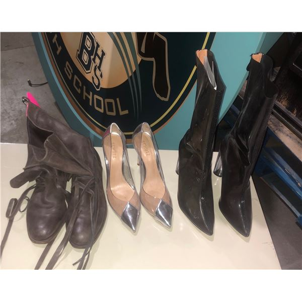 three pairs of shoes and purses sizes 8 9 B 39