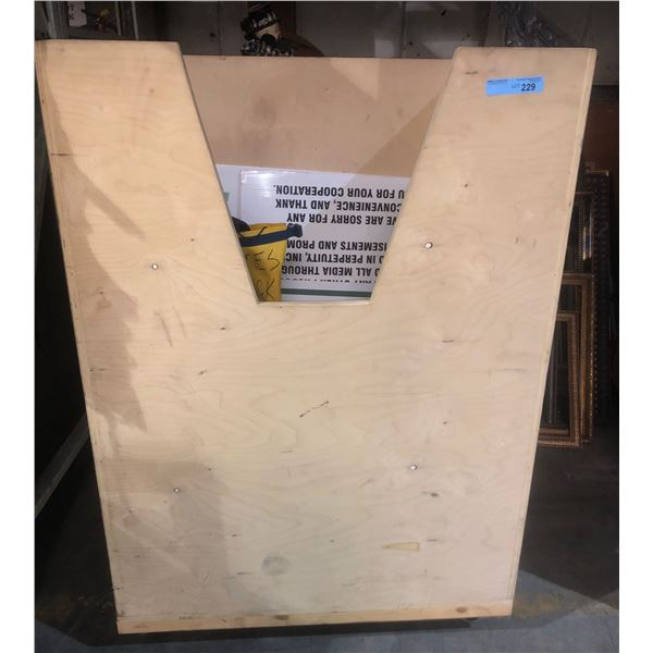 pallet of assorted signs water dispenser and waterproof bag