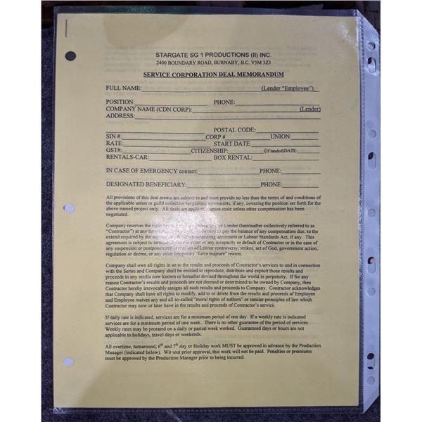 Stargate SG.1 Service Corporation Deal Memorandum & Dept of The Air Force Empty Note of General Geor