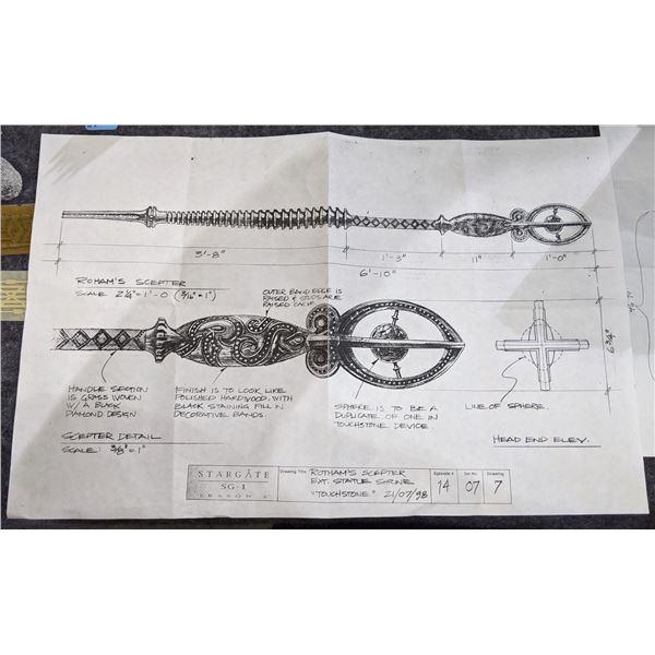Stargate SG-1 Season 2 - Rotham's Scepter Ext. Statue Shrine  Touchstone  Drawing 21/07/98
