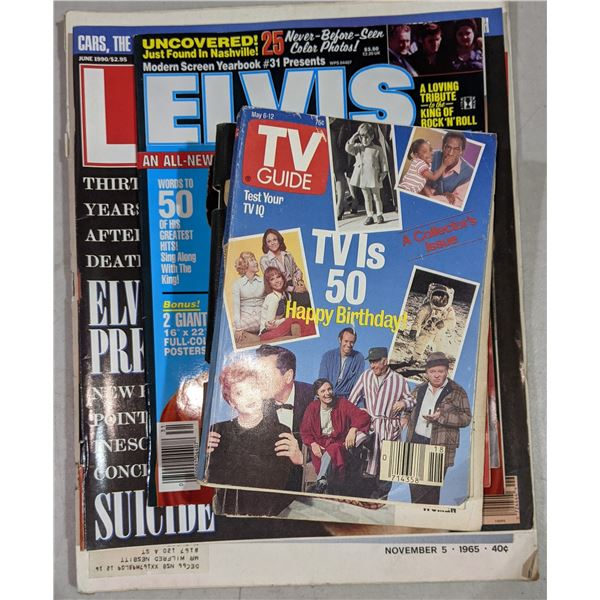 Vintage TV guide magazines & Elvis Presley Life magazine from 1965