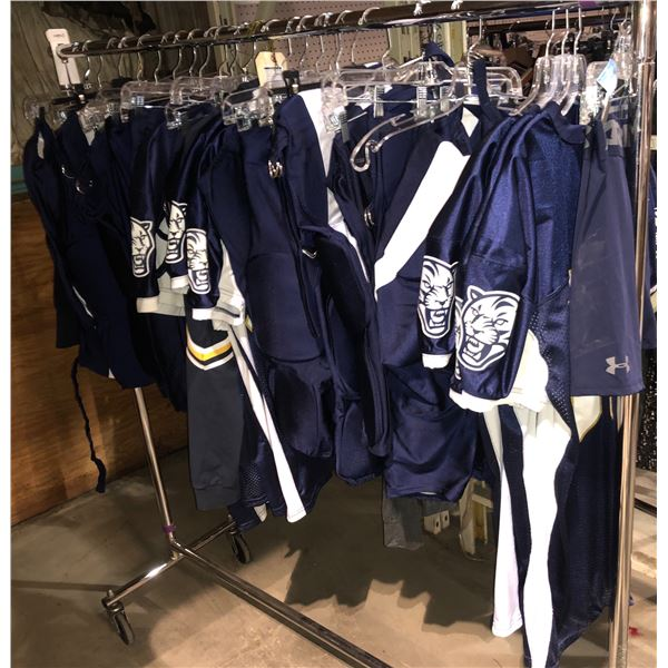 Rack of Football Costumes Tops and Bottoms Approx. 25 Pieces