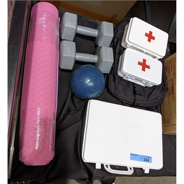 Lot of Weights Yoga Mat, First Aid Kits and misc swimming pool inflatables