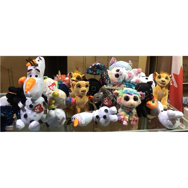 large Lot of Disney stuffed toys and Harry Potter clock Beanie Babies