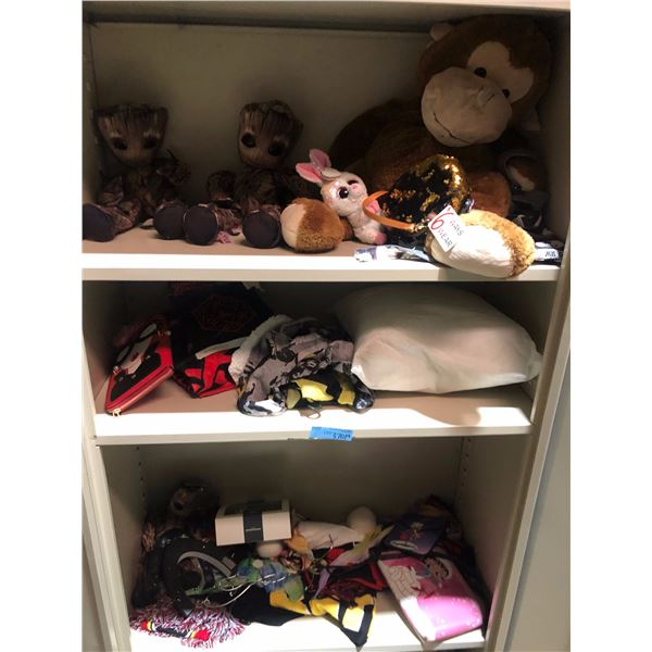 lot of Disney stuffed toys including Guardians of the Galaxy toys, Betty Boop purses Beanie Baby
