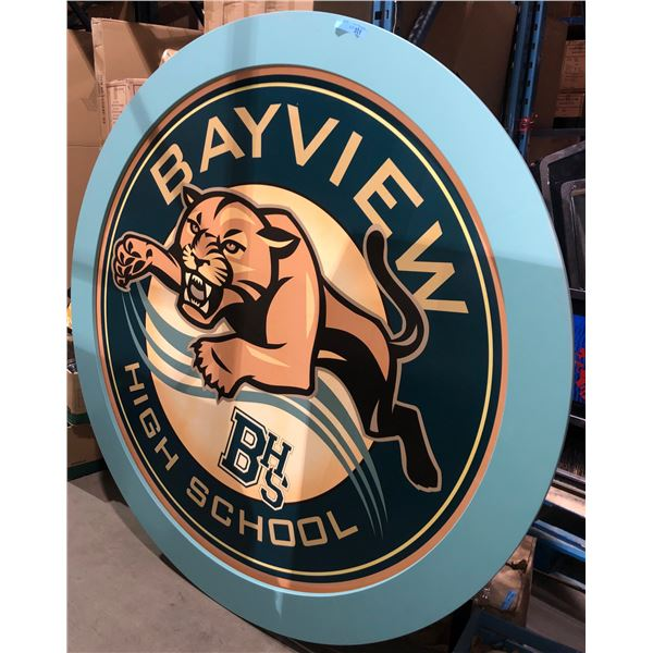 "large round Bayview high school wooden sign - 73"" Diameter 7"" W"