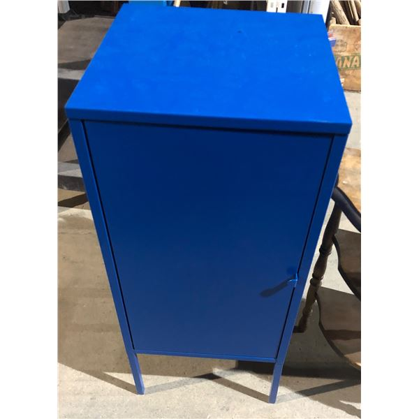 wooden side table and blue metal storage cabinet