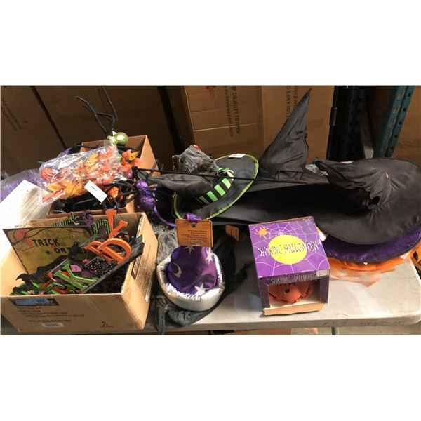large lot off Halloween items including signage witch hats paintings pumpkin light set and miscellan