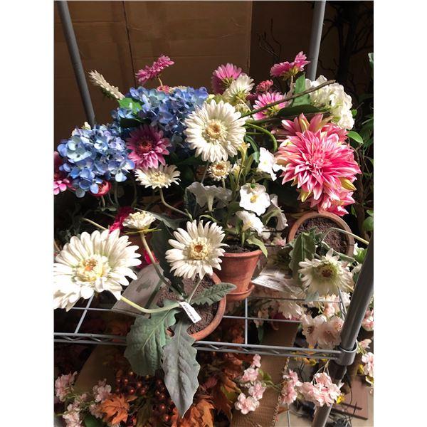 large lot of artificial plants flowers flower pots
