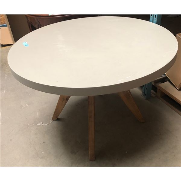 gray round dining table approx. 43.5 in diameter 30 in height