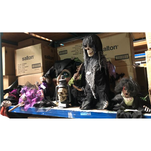 large lot of creepy Halloween creatures including skeletons and witches