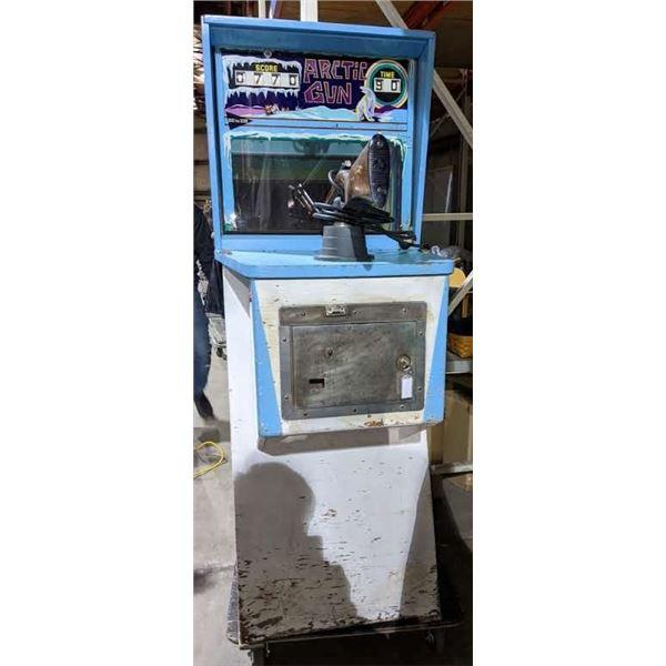 "Williams Arctic Gun Arcade Game with keys 68"" H x 35"" D x 24"" W"