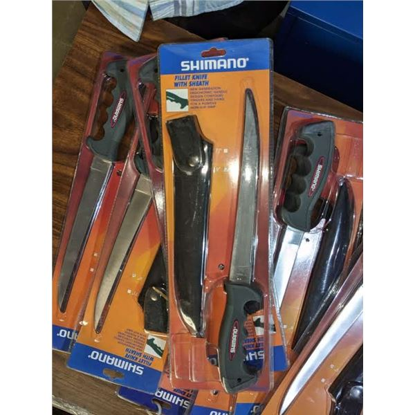a large lot of Shimano fillet knife with sheath (approx. 9 pieces)