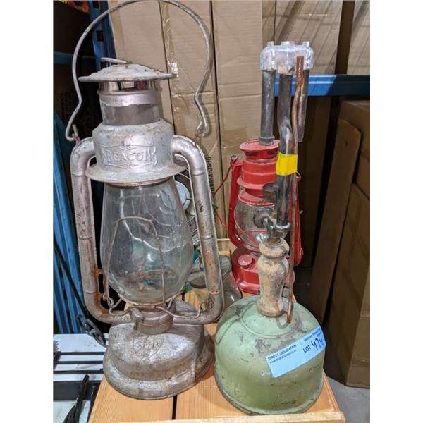 3 vintage lamps and 1 vintage fan