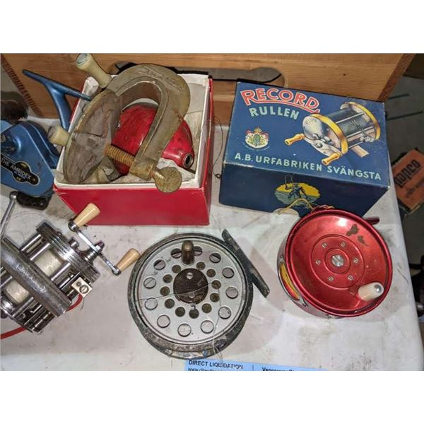 a lot of vintage fishing reels including record rullen, the ambidex, true temper and more