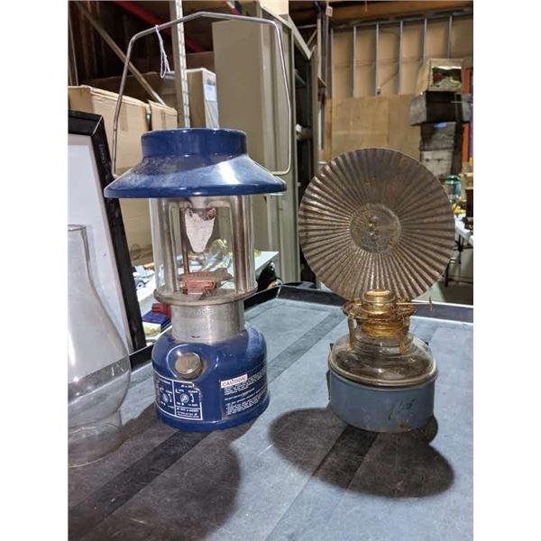 3 Vintage lanterns and 1 glass lantern shade