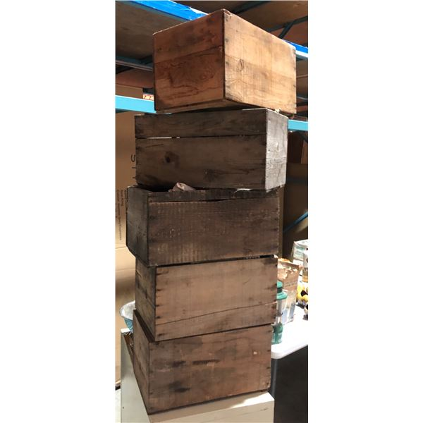 5 wooden crates with misc