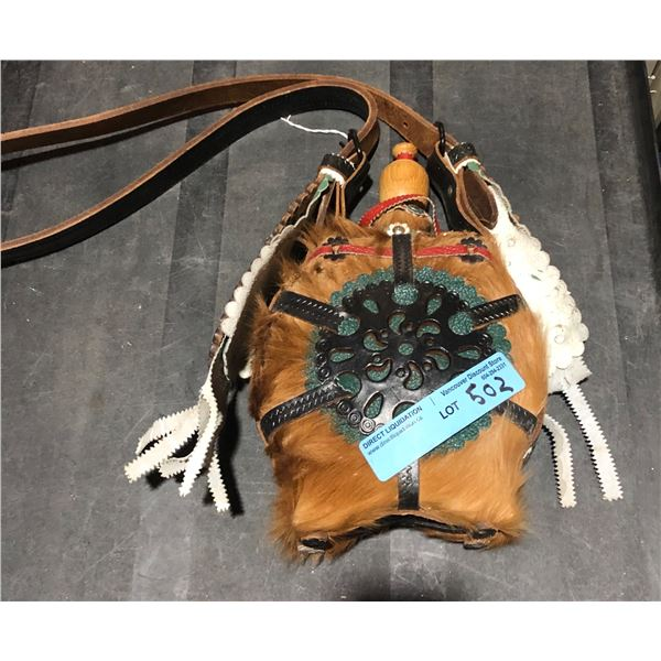 Native American Style Canteen Flask brown fur with leather strap
