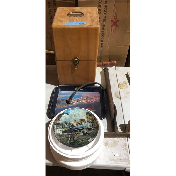 Collectible Coke tray, vintage hand pump, 2 collectible train plates and one wooden box