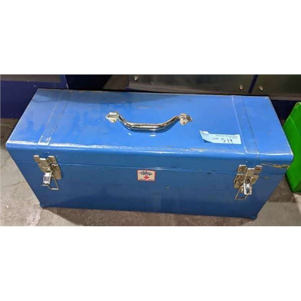 Metal Toolbox with assorted tools