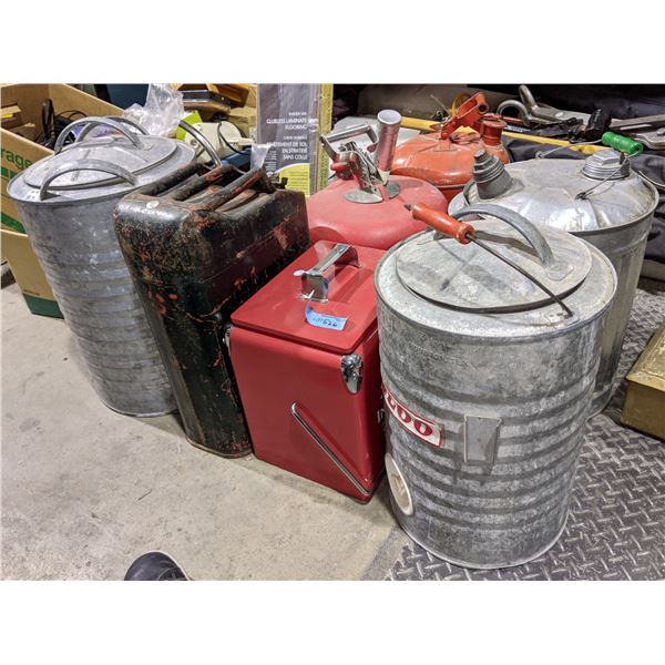 large lot of assorted metal cans