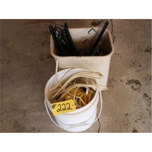 2 PAILS OF MISC HANGERS, WIRE, HOSE