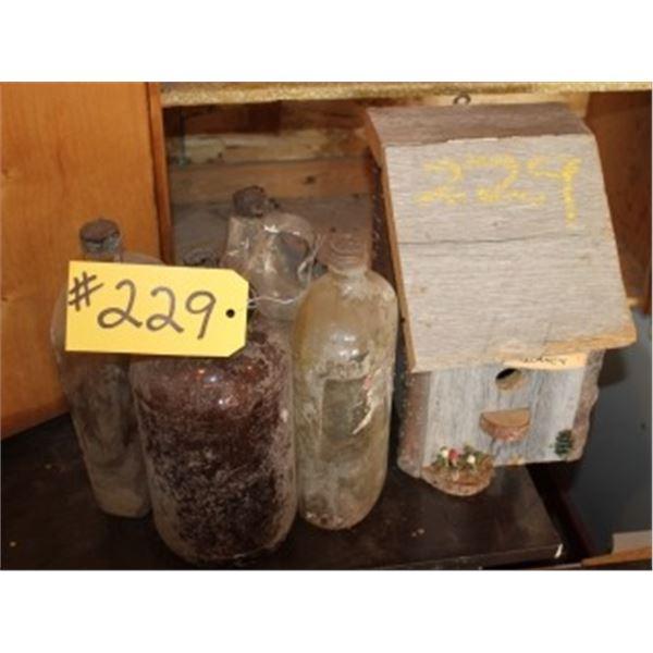 4 GLASS JUGS, WOOD BIRD HOUSE
