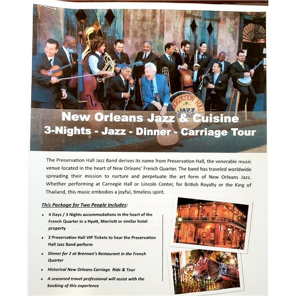 New Orleans Jazz & Cuisine, 3-Night- Jazz- Dinner- Carriage Tour