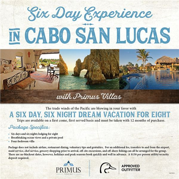 Cabo San Lucas Vacation for 8 People 6 Days