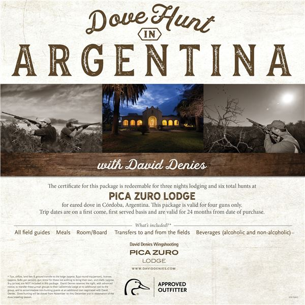 Dove Hunt for 4 in Argentina- Pica Zuro Lodge