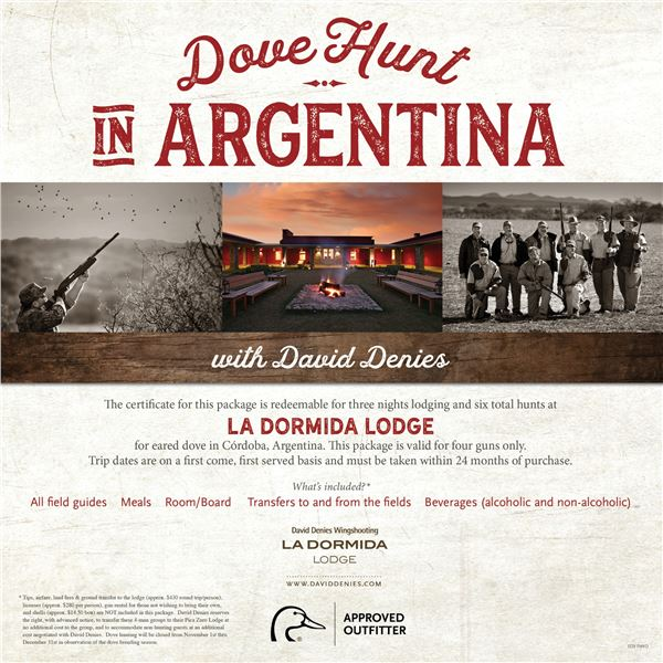 Dove Hunt for 4 in Argentina- LaDormida Lodge