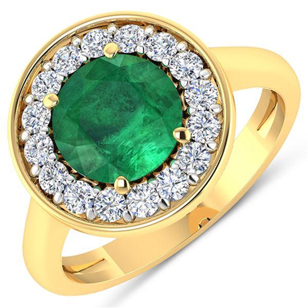 Natural 2.38 CTW Zambian Emerald & Diamond Ring 14K Yellow Gold - REF-108K7W