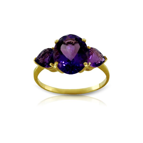 Genuine 4 ctw Amethyst Ring 14KT Yellow Gold - REF-38T5A