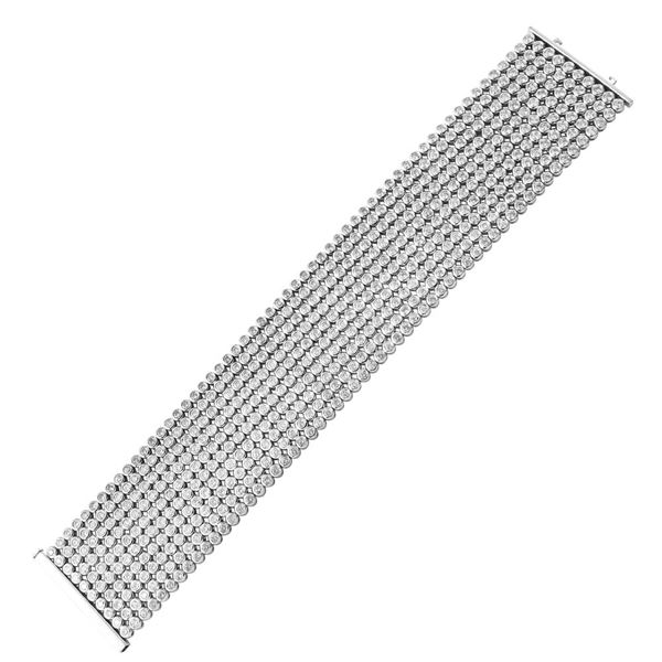 Natural 19.79 CTW Diamond & Bracelet 14K White Gold - REF-1938H6W