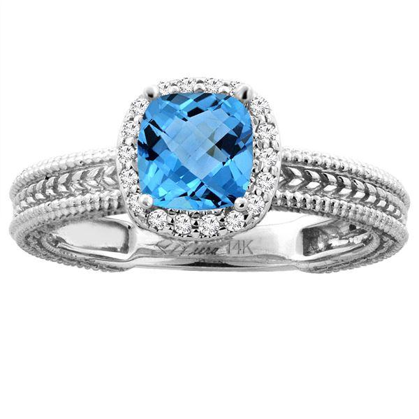 1.60 CTW Swiss Blue Topaz & Diamond Ring 14K White Gold - REF-45V3R