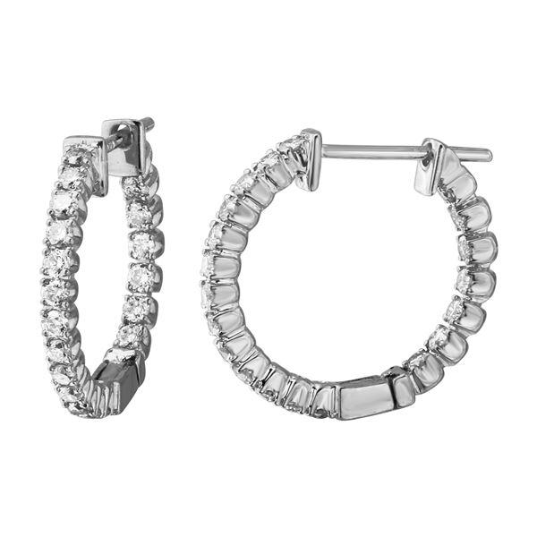 Natural 0.81 CTW Diamond Earrings 14K White Gold - REF-78X3T