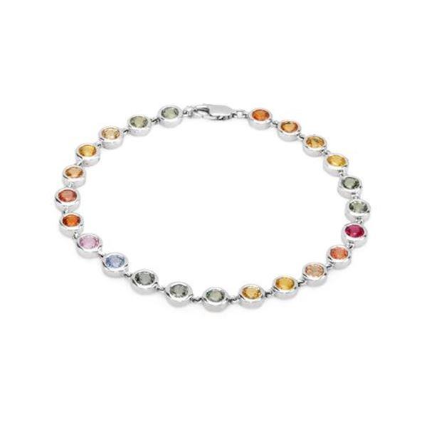 Natural 7.25 CTW Multi-Sapphire Bracelet 14K White Gold - REF-127Y8N
