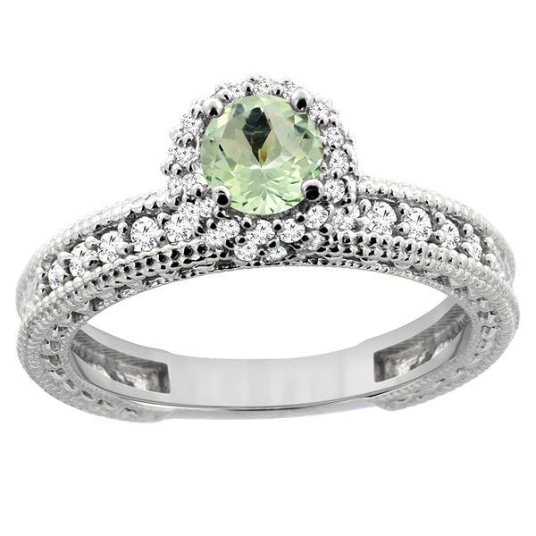 0.77 CTW Amethyst & Diamond Ring 14K White Gold - REF-65N8Y