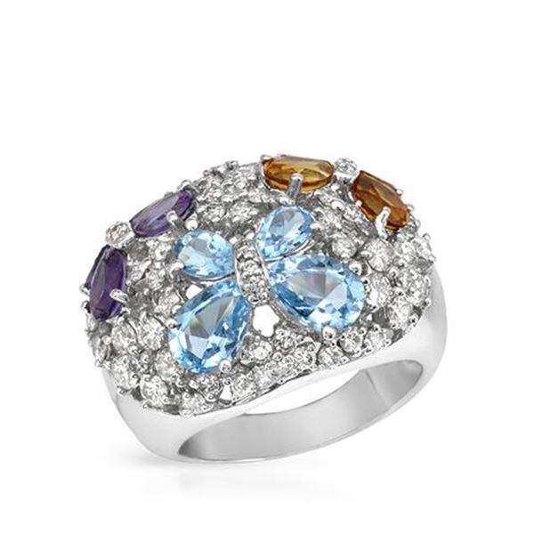 Natural 13.85 CTW Amethyst & Diamond Ring 14K White Gold - REF-187H2W