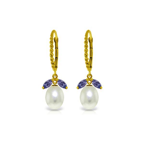 Genuine 9 ctw Tanzanite & Pearl Earrings 14KT Yellow Gold - REF-47H3X