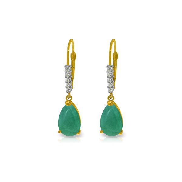 Genuine 2.15 ctw Emerald & Diamond Earrings 14KT Yellow Gold - REF-59Z6N