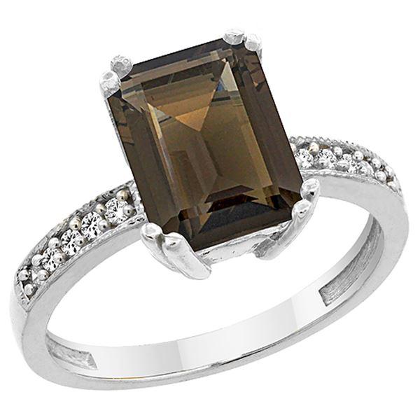 3.70 CTW Quartz & Diamond Ring 14K White Gold - REF-40M2A
